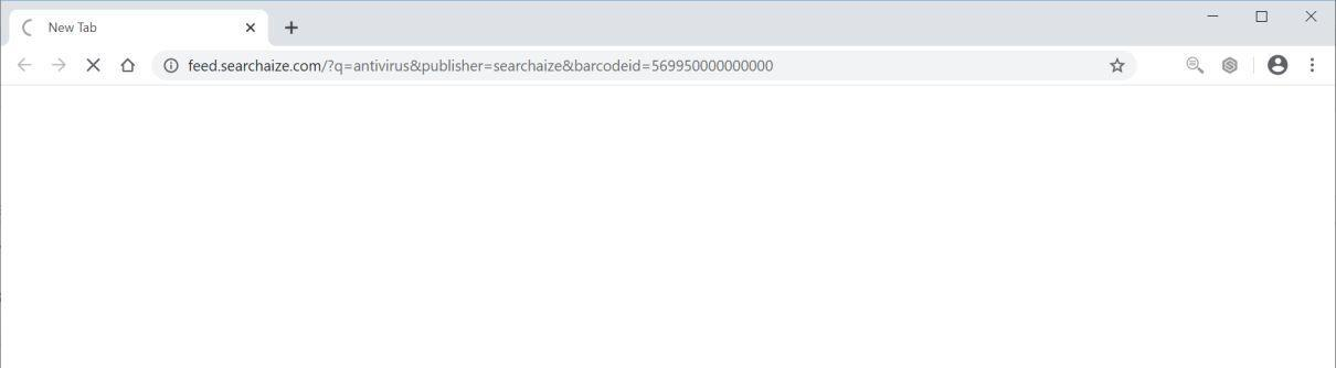 Image: Chrome browser is redirected to Feed.searchaize.com