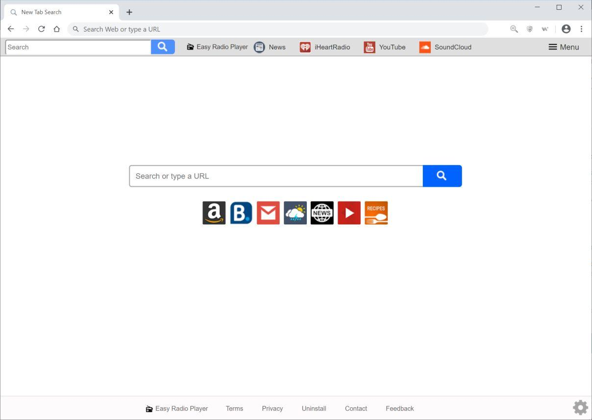 Image: Chrome browser is redirected to Easy Radio Player