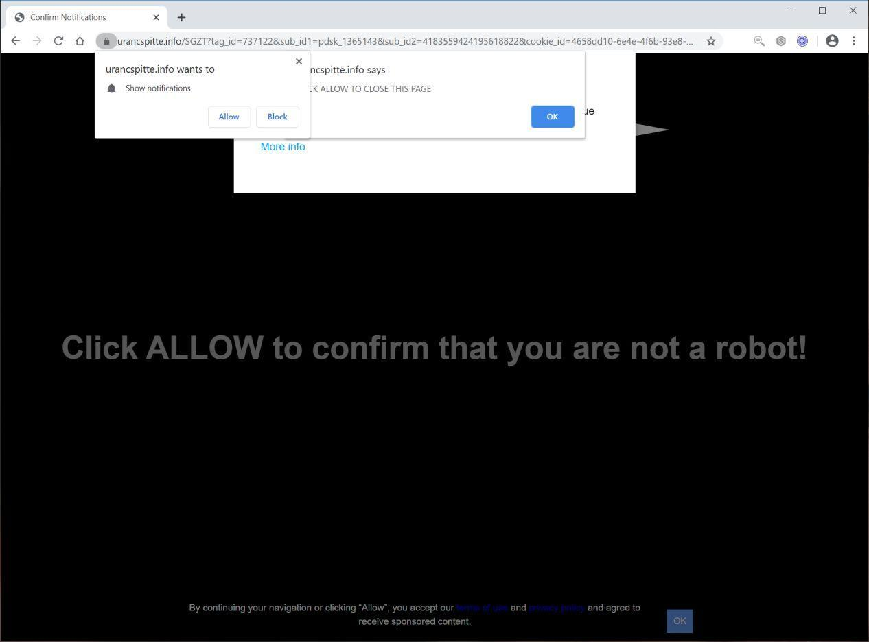 Image: Chrome browser is redirected to Urancspitte.info