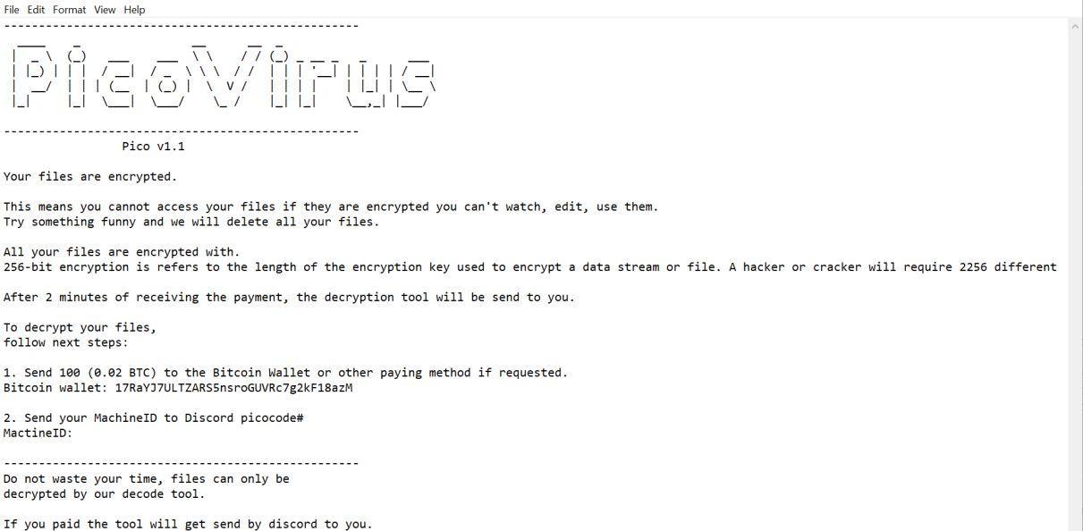 Image: Picocode ransomware virus