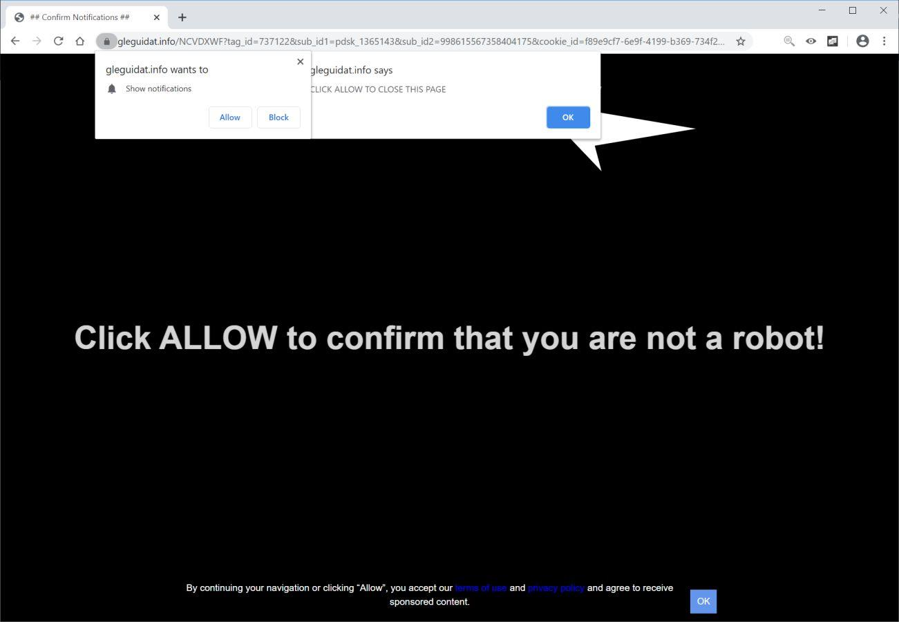 Image: Chrome browser is redirected to Gleguidat.info