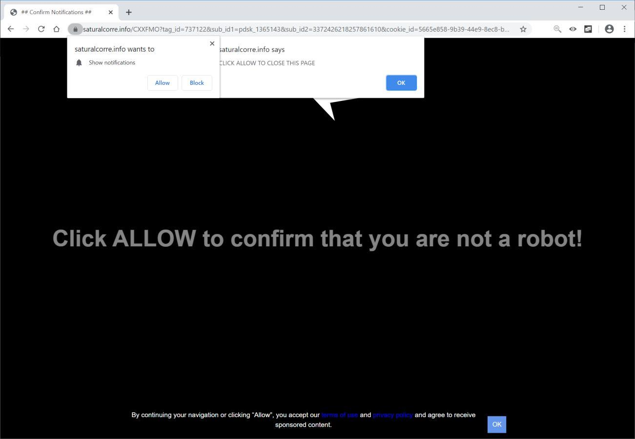 Image: Chrome browser is redirected to Saturalcorre.info