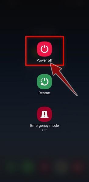 Long press the hardware power button on your Android phone until the power off menu appears