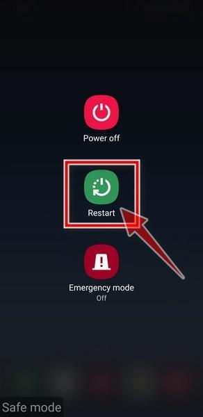 Restart your phone to exit Safe Mode - Android