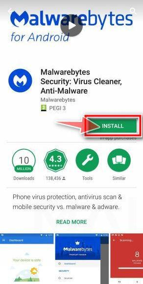 Tap Install to install Malwarebytes for Android