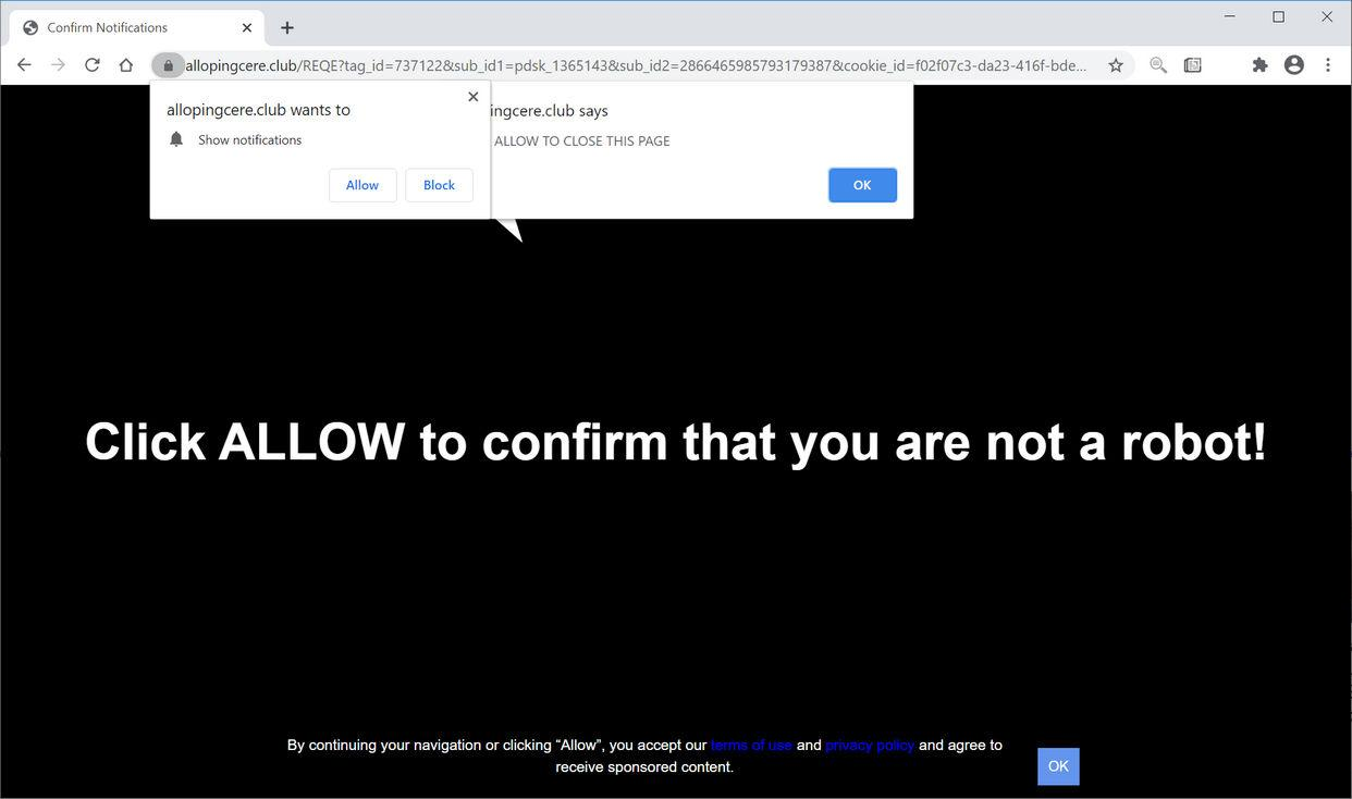 Image: Chrome browser is redirected to Allopingcere.club