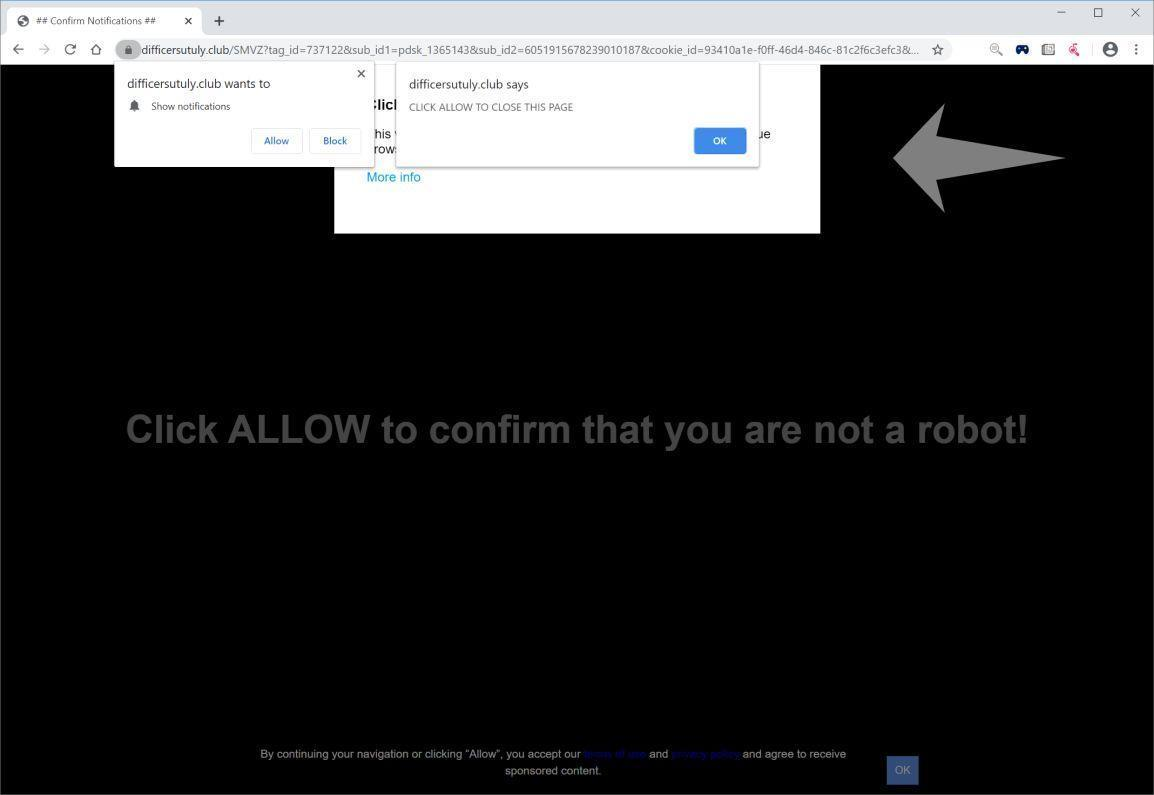 Image: Chrome browser is redirected to Difficersutuly.club