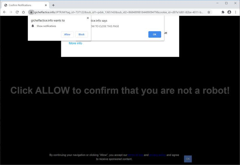 Image: Chrome browser is redirected to Gichelfactice.info