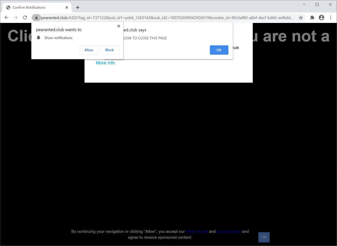 Image: Chrome browser is redirected to Pearanted.club