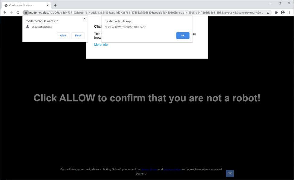 Image: Chrome browser is redirected to Moderned.club