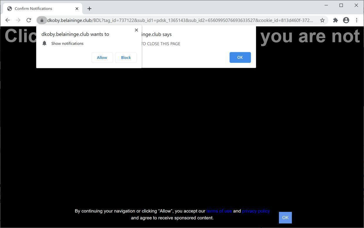 Image: Chrome browser is redirected to Belaininge.club