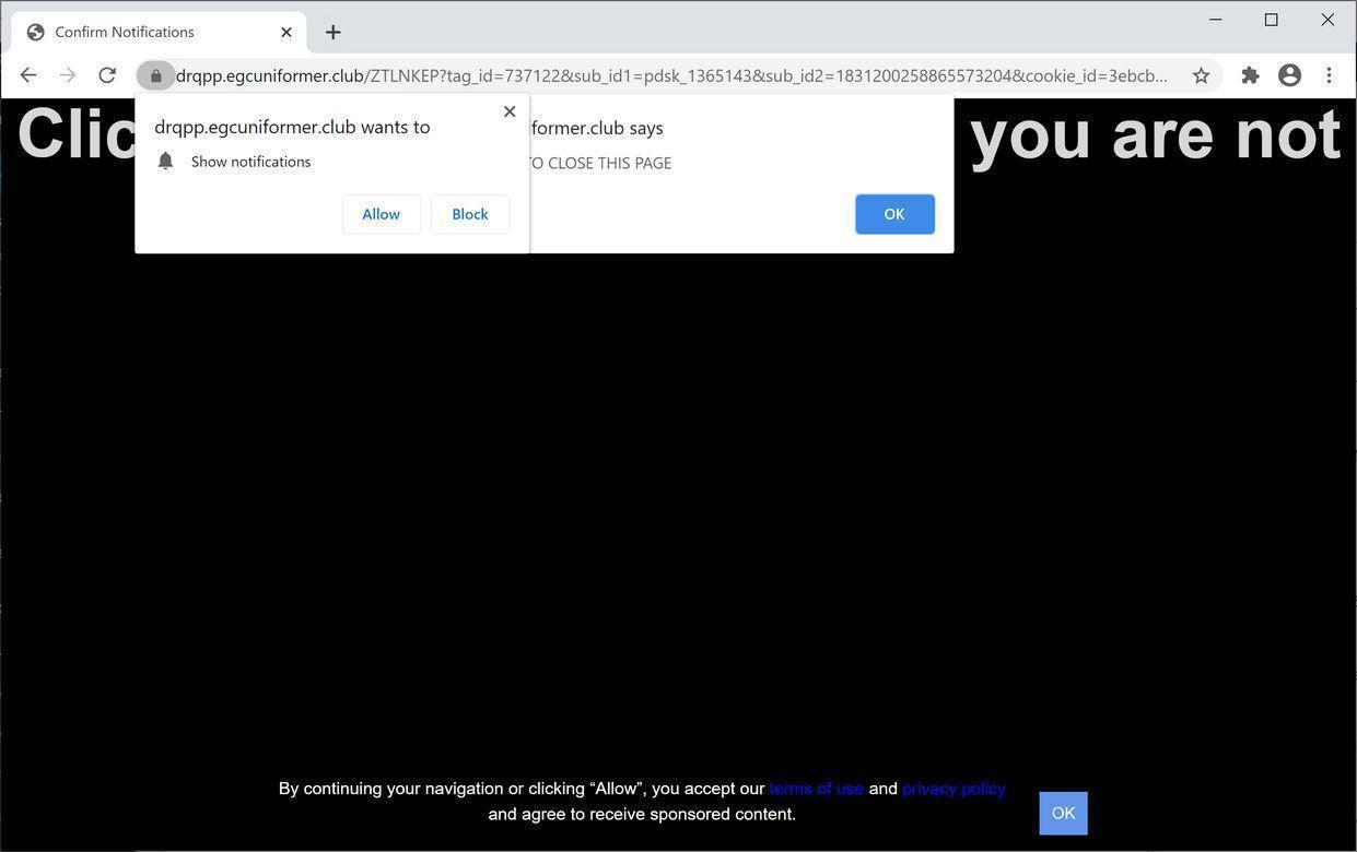Image: Chrome browser is redirected to Egcuniformer.club
