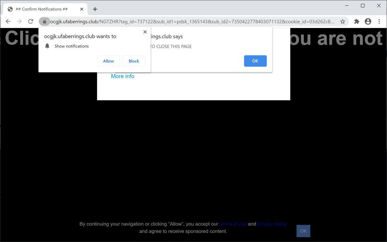 Image: Chrome browser is redirected to Ufaberrings.club