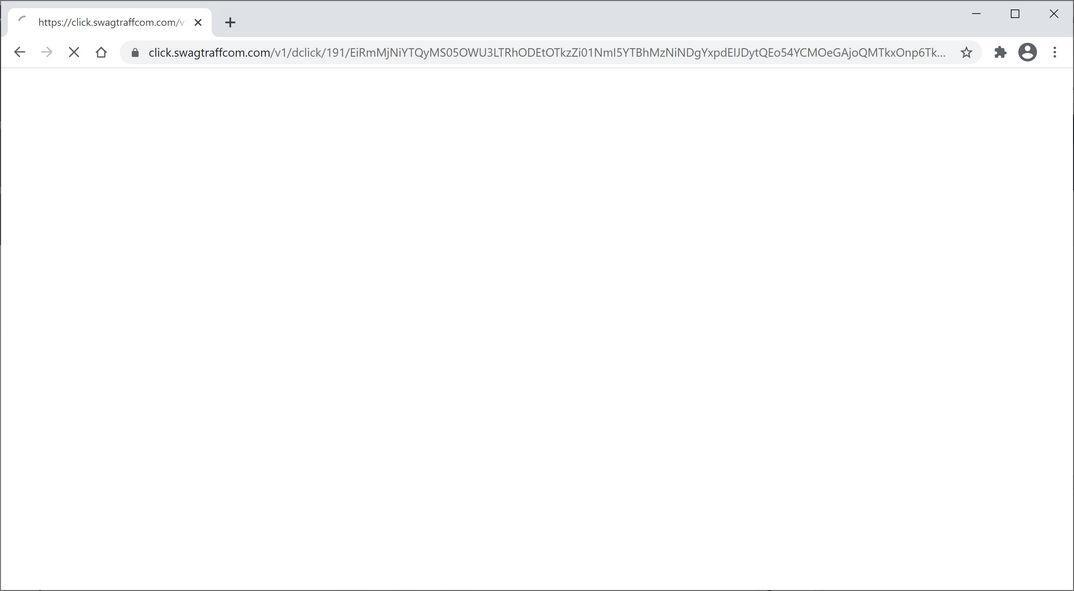 Image: Chrome browser is redirected to Click.swagtraffcom.com