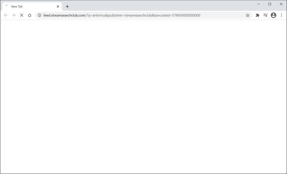 Image: Chrome browser is redirected to StreamSearchClub Search