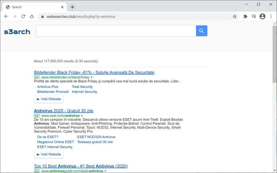 Image: Chrome browser is redirected to Websearches.club