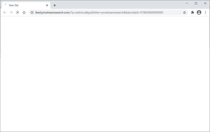 Image: Chrome browser is redirected to ProStreamsSearch Search