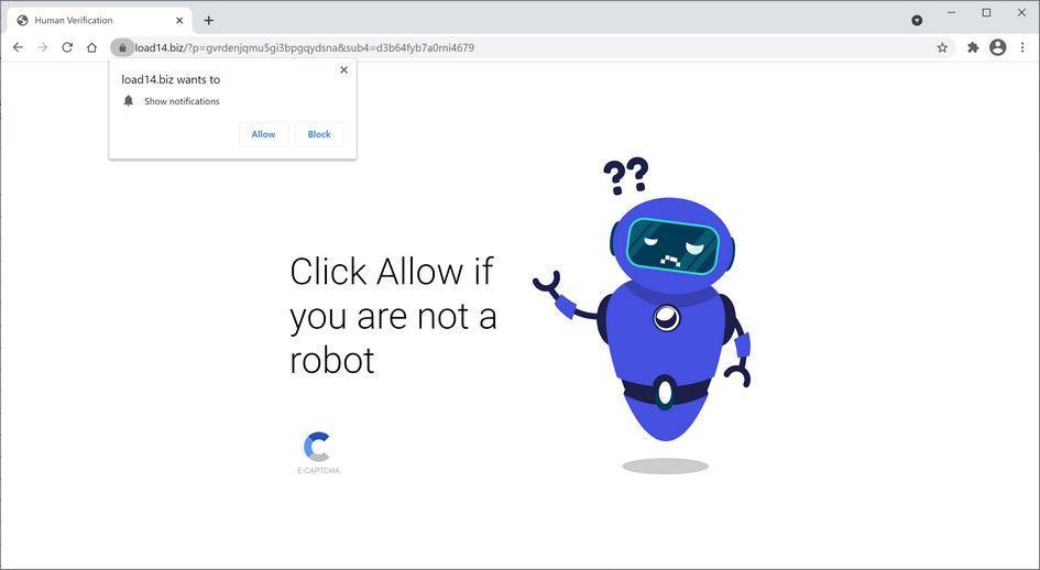 Image: Chrome browser is redirected to Load14.biz