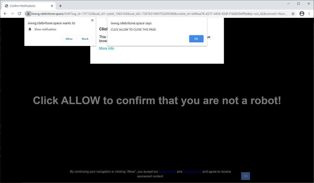 Image: Chrome browser is redirected to Rdebritone.space