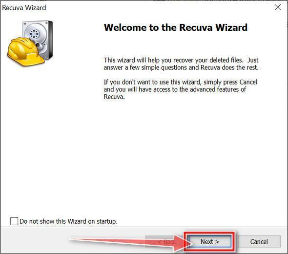 Recuva Wizard first screen
