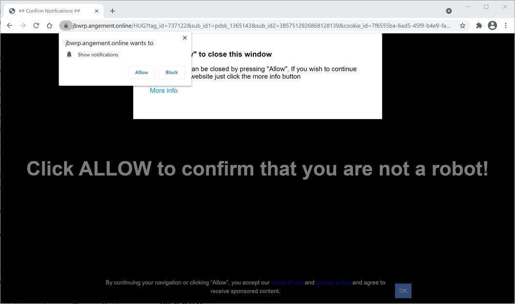Image: Chrome browser is redirected to Angement.online