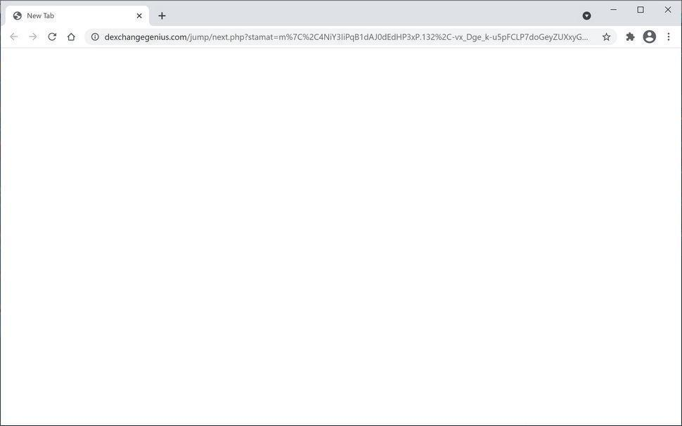 Image: Chrome browser is redirected to Dexchangegenius.com