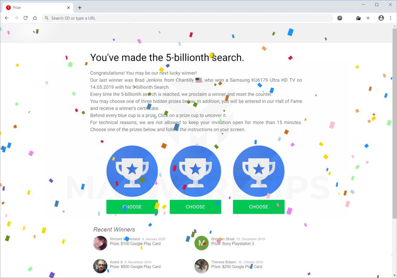 Image: Chrome Search Contest 2021 scam ads