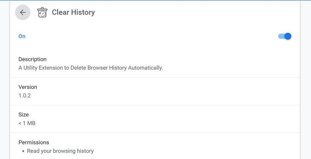 age: Clear History Chrome extension