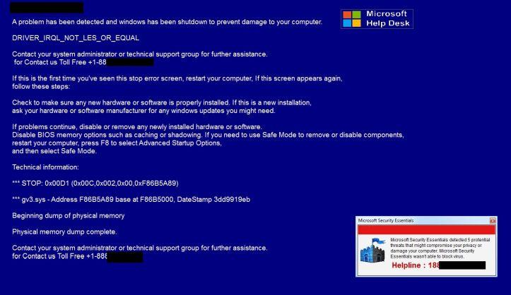Image: Microsoft Security Essentials Alert - Tech Support Scam