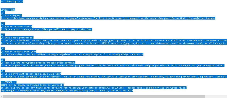 Image: Usagoo ransomware