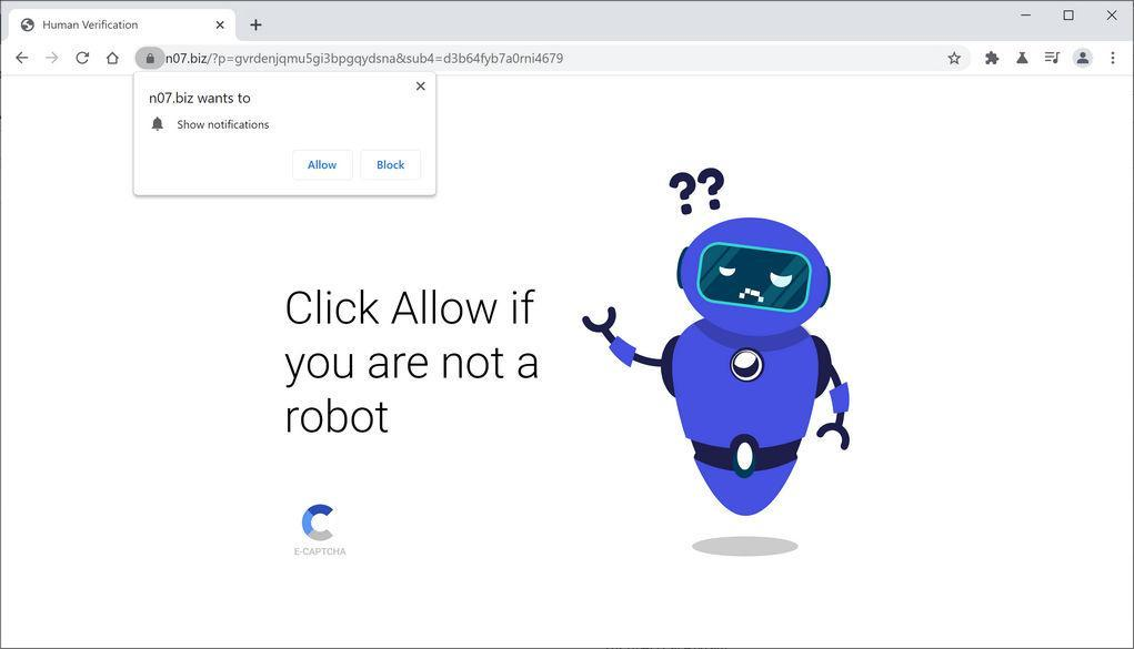 Image: Chrome browser is redirected to N07.biz