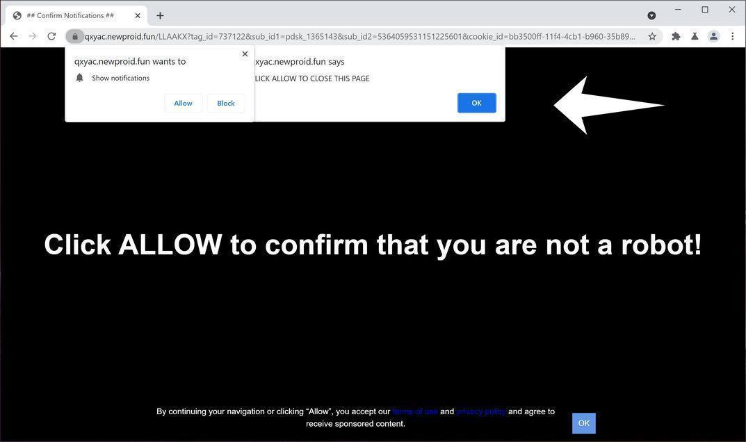 Image: Chrome browser is redirected to Newproid.fun