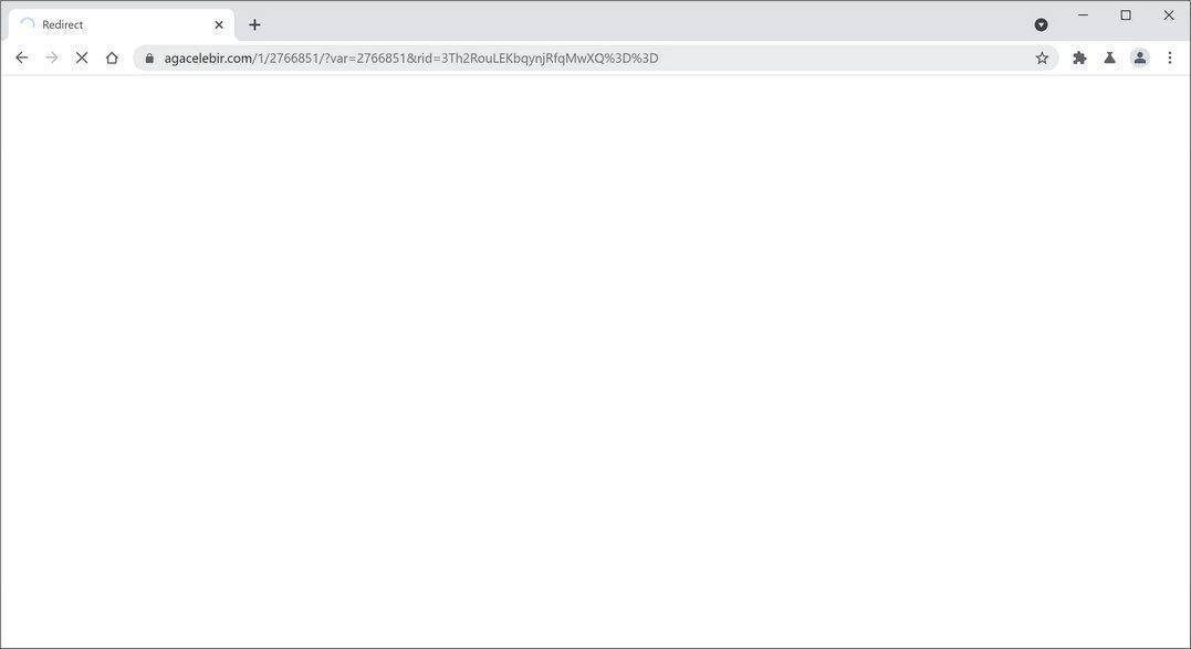 Image: Chrome browser is redirected to Agacelebir.com