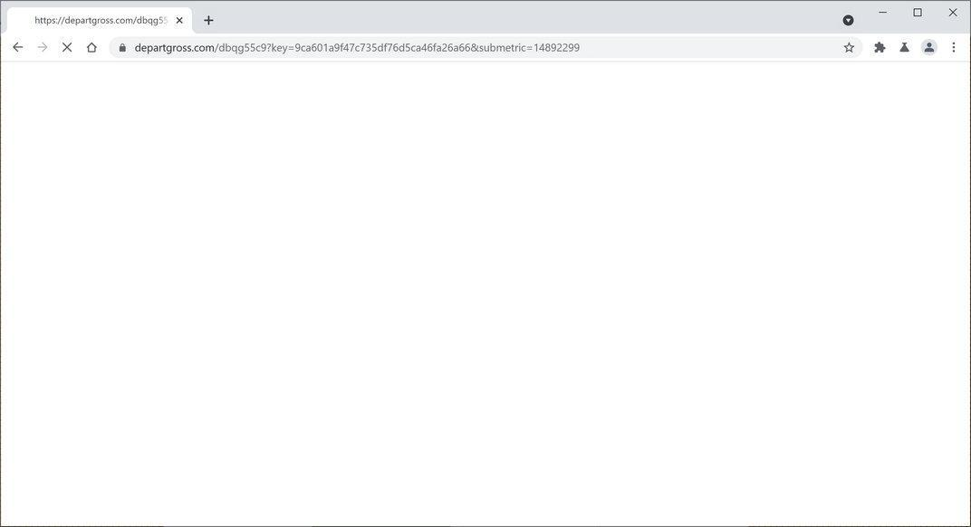 Image: Chrome browser is redirected to Departgross.com