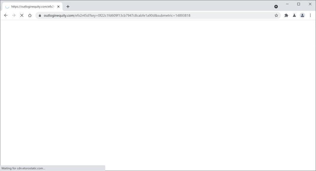 Image: Chrome browser is redirected to Outloginequity.com