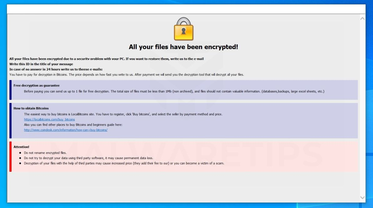 Image: [bebenrowan@aol.com].gamma ransomware