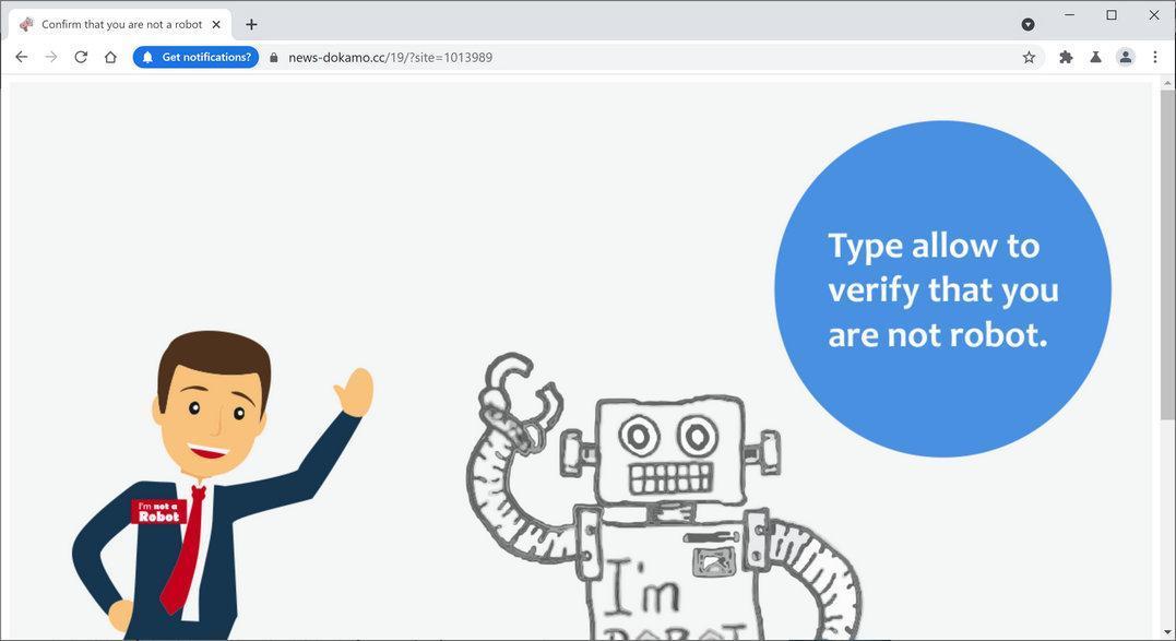 Image: Chrome browser is redirected to News-dokamo.cc