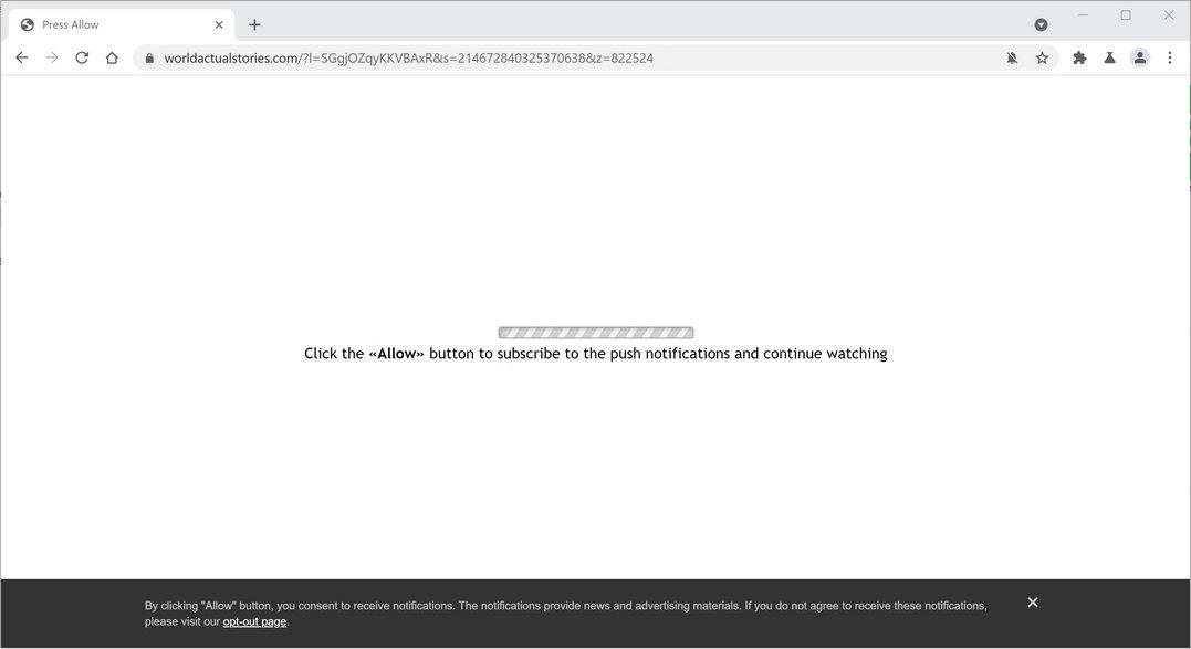 Image: Chrome browser is redirected to Worldactualstories.com