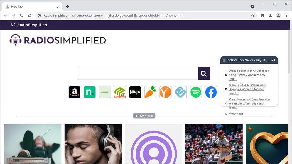 Image: Chrome browser is redirected to RadioSimplified