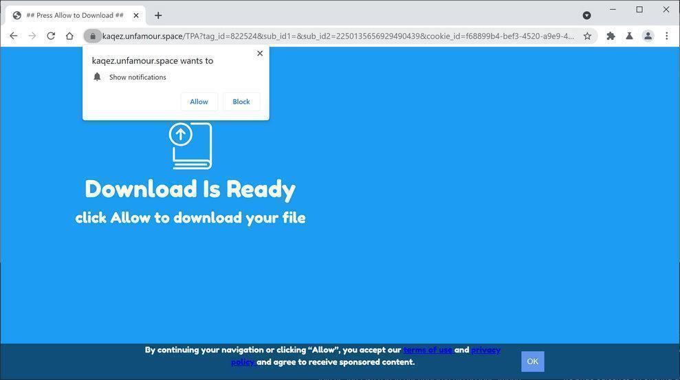 Bild: Chrome-Browser wird auf Unfamour.space umgeleitet
