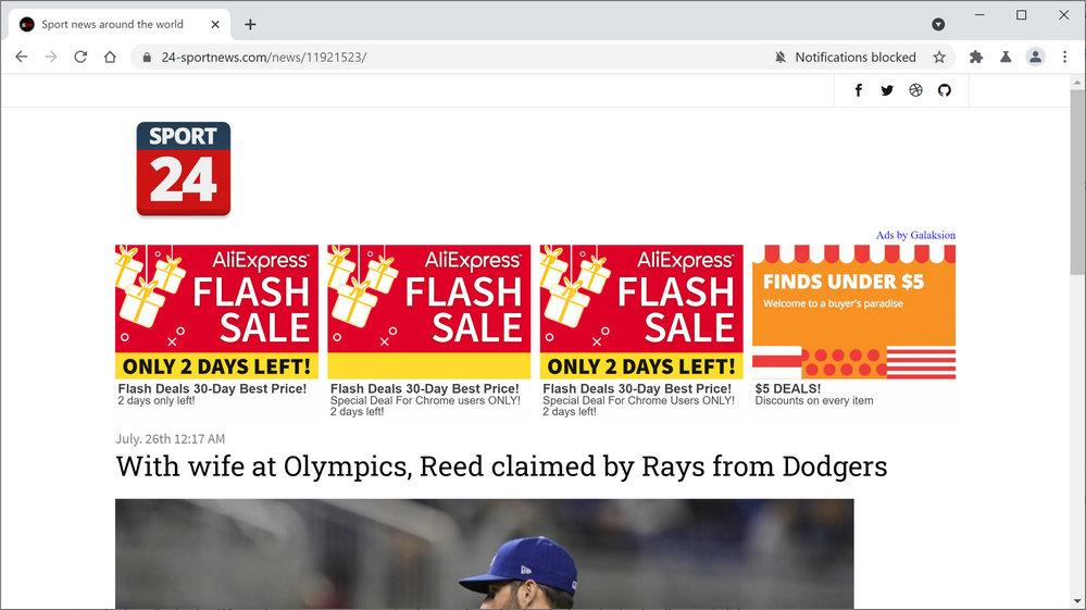 Image: Chrome browser is redirected to 24-sportnews.com