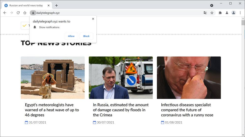 Image: Chrome browser is redirected to Dailytelegraph.xyz