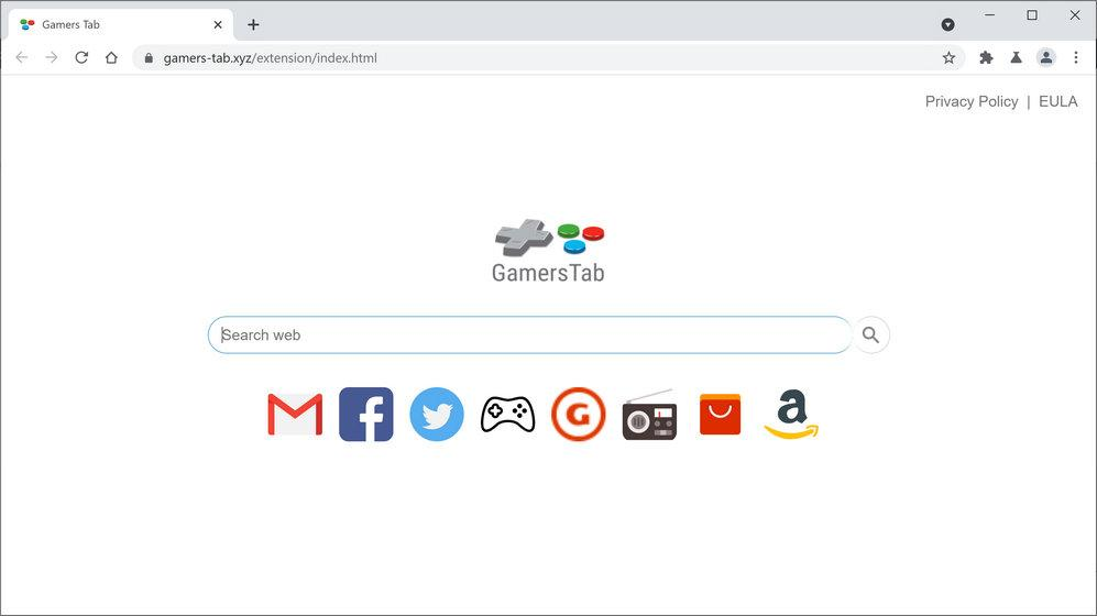 Image: Chrome browser is redirected to Gamers Tab