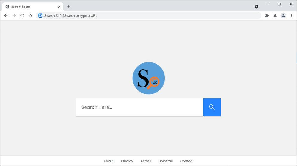 Image: Chrome browser is redirected to Search45 Search