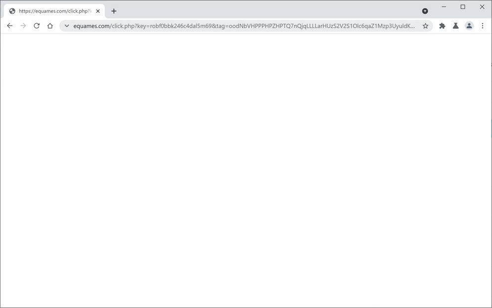 Image: Chrome browser is redirected to Equames.com