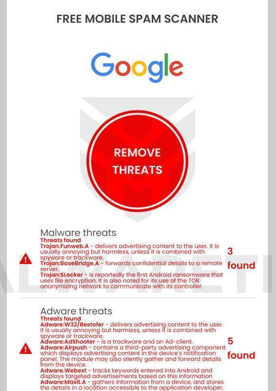 Image:  Google Free Mobile Spam Scanner pop-up scam