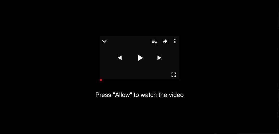 Bild: Chrome-Browser wird umgeleitet auf Bitte erlauben Sie, die Videoseite anzusehen