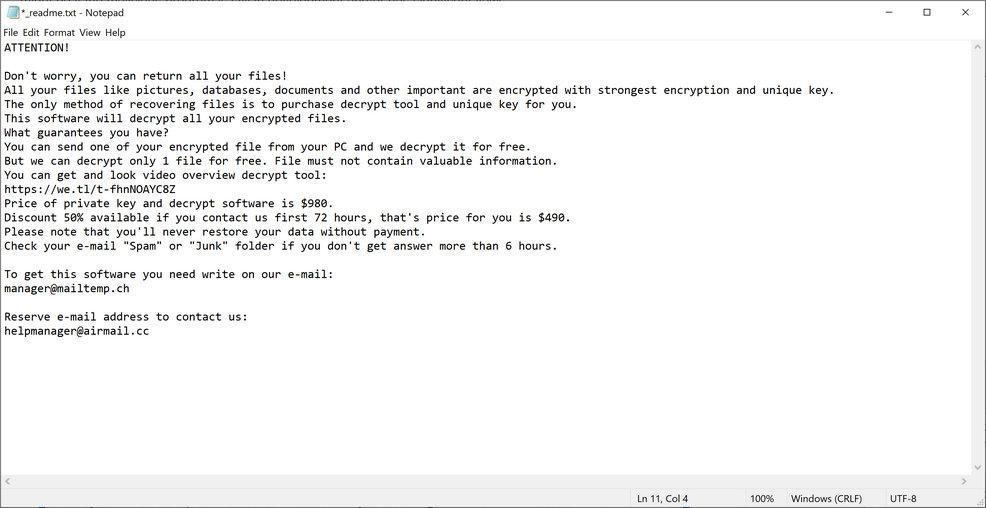 Image: RIGD Ransomware Note