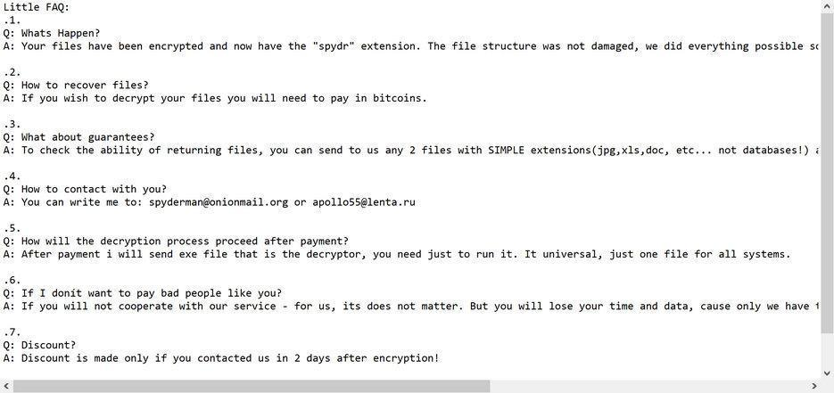 Image: Spydr ransomware note