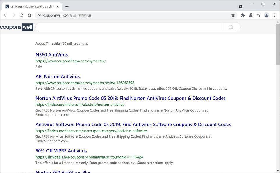 Image: CouponsWell browser hijacker